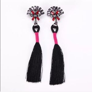 Jewelry - Crystal Rhinestone Tassel Earrings (black)